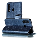 Elephant Embossing Pattern Horizontal Flip Leather Case for Galaxy A60 & A606F & A6060 & M40 , with Holder & Card Slots & Wallet & Photo Frame & Lanyard(Dark Blue)