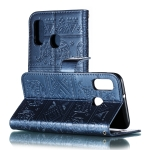Elephant Embossing Pattern Horizontal Flip Leather Case for Galaxy A20E & A10E , with Holder & Card Slots & Wallet & Photo Frame & Lanyard(Dark Blue)