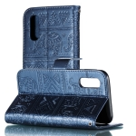 Elephant Embossing Pattern Horizontal Flip Leather Case for Galaxy A2 Core & A260 & A20 Core , with Holder & Card Slots & Wallet & Photo Frame & Lanyard(Dark Blue)