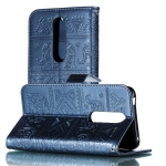Elephant Embossing Pattern Horizontal Flip Leather Case for Nokia 7(2018) & 7.1 , with Holder & Card Slots & Wallet & Photo Frame & Lanyard(Dark Blue)