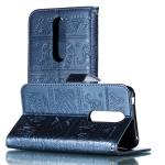 Elephant Embossing Pattern Horizontal Flip Leather Case for Nokia 7(2018) & 7.1 , with Holder & Card Slots & Wallet & Photo Frame & Lanyard(Dark Blue)