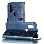 Elephant Embossing Pattern Horizontal Flip Leather Case for Motorola Moto P40 & One Vision & P40 Power(EU Version) , with Holder & Card Slots & Wallet & Photo Frame & Lanyard(Dark Blue)
