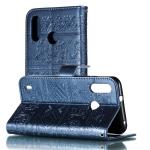 Elephant Embossing Pattern Horizontal Flip Leather Case for Motorola Moto P40 Play (EU Version) , with Holder & Card Slots & Wallet & Photo Frame & Lanyard(Dark Blue)