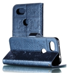 Elephant Embossing Pattern Horizontal Flip Leather Case for Google Plxel 3A , with Holder & Card Slots & Wallet & Photo Frame & Lanyard(Dark Blue)