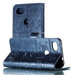 Elephant Embossing Pattern Horizontal Flip Leather Case for Google Plxel 3A XL , with Holder & Card Slots & Wallet & Photo Frame & Lanyard(Dark Blue)