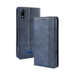 Magnetic Buckle Retro Crazy Horse Texture Horizontal Flip Leather Case for Wiko Y60, with Holder & Card Slots & Photo Frame(Blue)