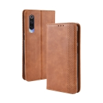 Magnetic Buckle Retro Crazy Horse Texture Horizontal Flip Leather Case for Xiaomi Mi CC9/Xiaomi Mi CC9mt Meitu Edition , with Holder & Card Slots & Photo Frame(Brown)