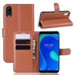 Litchi Texture Horizontal Flip Leather Case for WIKO Y80, with Wallet & Holder & Card Slots(Brown)