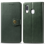 Retro Solid Color Leather Buckle Mobile Phone Protection Leather Case with Photo Frame & Card Slot & Wallet & Bracket Function for Galaxy A40(Green)