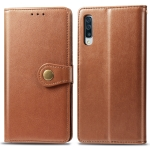 Retro Solid Color Leather Buckle Mobile Phone Protection Leather Case with Photo Frame & Card Slot & Wallet & Bracket Function for Galaxy A50(Brown)