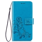 Four-leaf Clasp Embossed Buckle Mobile Phone Protection Leather Case with Lanyard & Card Slot & Wallet & Bracket Function for Nokia 2.2(Blue)