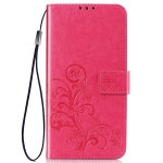 Four-leaf Clasp Embossed Buckle Mobile Phone Protection Leather Case with Lanyard & Card Slot & Wallet & Bracket Function for Vivo Y3(Magenta)