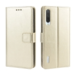 Retro Crazy Horse Texture Horizontal Flip Leather Case for Xiaomi CC9e /A3  , with Holder & Card Slots & Photo Frame(Gold)