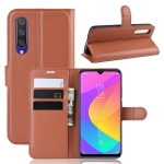 Litchi Texture Horizontal Flip Leather Case for Xiaomi MI CC9e / MI A3, with Wallet & Holder & Card Slots(Brown)