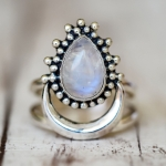 925 Silver Women Vintage Diamond Punk Moonstone Ring, Ring Size:9