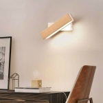 Simple Rotatable Bedside Bedroom Wall Lamp Warm Night Light, Size:21cm(Wood )