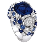 Unisex Luxury Inlays Sapphire Engagement Rings, Ring Size:7