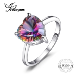 925 Sterling Silver Vintage Simple Versatile Heart Shape Colorful Ladies Zircon Ring, Ring Size:9
