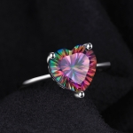 925 Sterling Silver Vintage Simple Versatile Heart Shape Colorful Ladies Zircon Ring, Ring Size:10