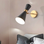 Simple Creative Double Heads Adjustable Angle Wrought Iron Living Room Aisle Corridor Bedroom Bedside Wall Lamp without Light Source(Black)