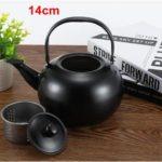 Thick Stainless Steel Teapot Tea Set Coffee Pot, style:black 14cm