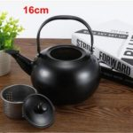 Thick Stainless Steel Teapot Tea Set Coffee Pot, style:black 16cm