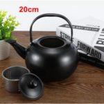 Thick Stainless Steel Teapot Tea Set Coffee Pot, style:black 20cm