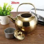 Thick Stainless Steel Teapot Tea Set Coffee Pot, style:gold 20cm
