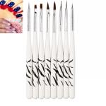 3 Pairs Zebra Manicure Brush Set 8 Painter Tool Manicure DIY Kit