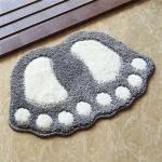 Foot-shaped Non Slip Shaggy Soft Water Absorption Bedroom Bathroom Carpet Mat, Size: 40x60cm(Grey)