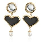 Hyperbole Black Heart Simulated Pearl Earring For Women