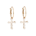 Vintage Cross Pearl Earrings For Women