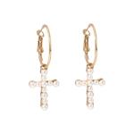 Vintage Cross Pearl Earrings For Women