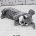 Kawaii Cartoon Plush Dog Pencil Case Cute Animal Pen Bag Box Kids School Supplies Stationery(Schnauzer Grey)