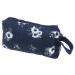 Animals Canvas Pencil Case Stationery Kids School Pencil Bag School Supplies(Navy flowers)
