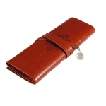 Luxury Roll Leather Make Up Cosmetic Pen Pencil Case Pouch Purse Bag(Brown)