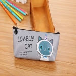 N81553 Kawaii Cat School Pencil Bags Cute Waterproof Pencil Case For Girls Kids Gift Office School Supplies(Gray)