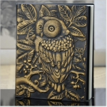01663 Vintage Thick Handmade Leather Carving Owl Sketchbook Journal Cute Notebook(Yellow)