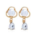 Crystal Simple Elegant Pearl Flower Stud Earring for Women(White)