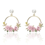 Women Round Circle Sweet Flower Pearl Stud Earrings(Pink)
