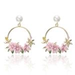 Women Round Circle Sweet Flower Pearl Stud Earrings(Pink)