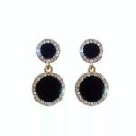 925 Silver Elegant Women Crystal Black Round Short Earrings