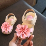 2 Pairs Fashion Girls Sandals Little Kids Cow Muscle Soft Bottom Toddler Shoes, Shoe Size:24(15cm)(Pink)