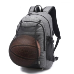 Multifunction Student Basketball Bag Men Outdoor Hiking Fitness Sports Bag, with External USB Charging Port(Grey)
