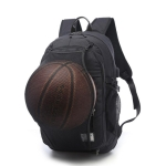 Multifunction Student Basketball Bag Men Outdoor Hiking Fitness Sports Bag, with External USB Charging Port(Black)