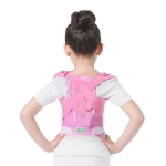 JBN-002 Children Posture Corrector Back Shoulder Lumbar Waist Supporting Correction Straighten Upper, Size:L(Pink)