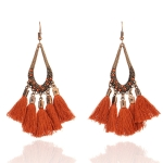 2 Pairs Women Tassel Bohemia Vintage Water Drop Shape Earring(Coffee)