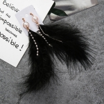 Fashion Sweet Feather Simulated Pearls Tassel Rhinestone Chains Long Dangle Earring for Women Jewelry(Black)