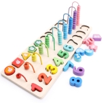 Children Wooden Montessori Abacus Learning To Count Numbers Matching Digital Shape Match Early Education Teaching Math Toys
