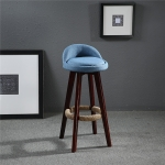 Swivel Bar Stool Chair Upholstered Seat Back Mahogany Finish Coffee Cafe Kitchen Bar Furniture Chair(Blue )